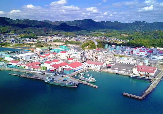 上空から撮影したナイカイ塩業と東児地区