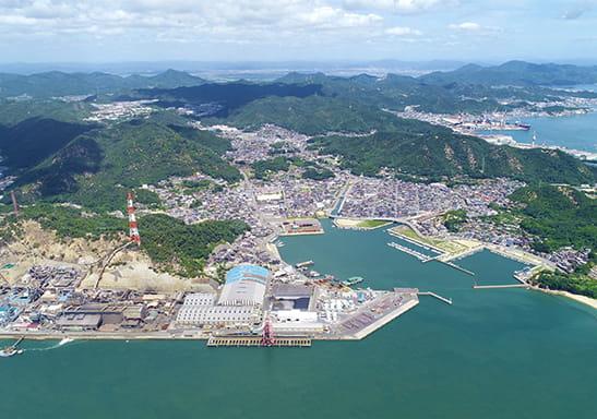 上空から撮影した日比製煉所と日比・渋川地区