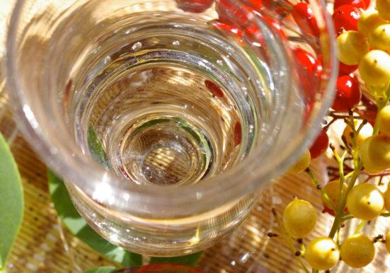 グラスに注がれたリキュール酒たまの藤ロマン