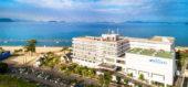 上空から撮影したマリンホテルと渋川海岸