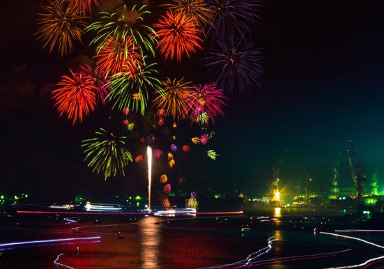 港夜空に大輪の花