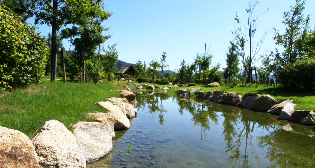 公園内に流れる小川